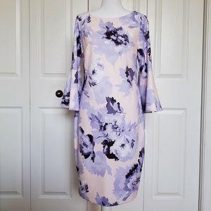 NWT Calvin Klein Purple Floral Bell Sleeve Dress